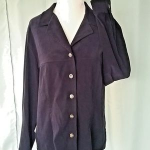 Sag Harbor Womens 12P Navy Blue Suede Like Blouse